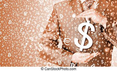 homme affaires, protéger, symbole dollar