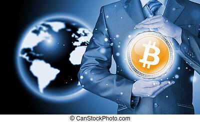 homme affaires, protecteur, bitcoins, geste