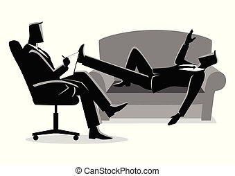 homme affaires, psychologue, thérapie, avoir