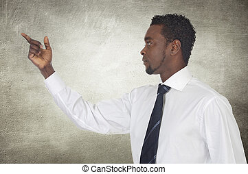 homme affaires, quelque chose, pointage, africaine