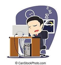 homme affaires, quoique, endormi, fonctionnement, automne
