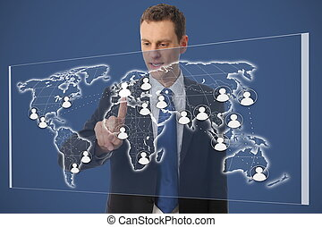 homme affaires, réseau, worldmap