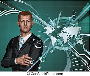 homme affaires, résumé, mondiale, fond, carte