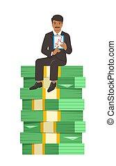 homme affaires, réussi, séance, argent, pile