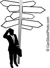 homme affaires, recherche, décision, directions, signes, solution