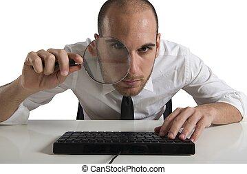 homme affaires, regarde, sur, les, informatique, à, a, lentille