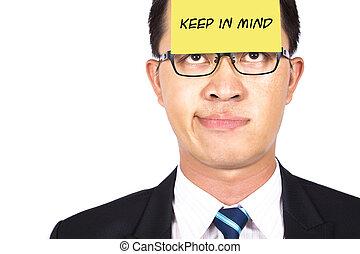 homme affaires, regarder, poste, rappeler, il, mind., garder...