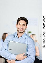 homme affaires, relieur, fond, tenue, collègues