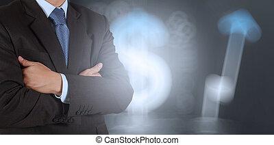 homme affaires, reussite, fond, signe, business
