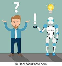 homme affaires, robot, dessin animé, question, réponse, ampoule