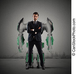 homme affaires, robot