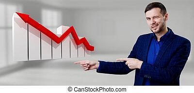 homme affaires, rouges, bas., virtuel, icône, flèche, pointage, graphique