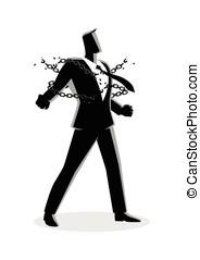 homme affaires, rupture, chaînes