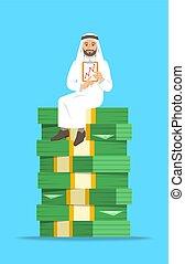 homme affaires, séance, argent, pile, arabe
