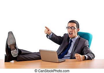 homme affaires, séance, bureau