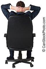 homme affaires, séance, chaise, pivot