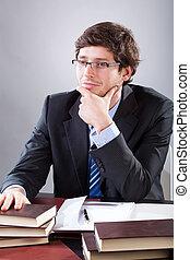 homme affaires, séance, sien, bureau