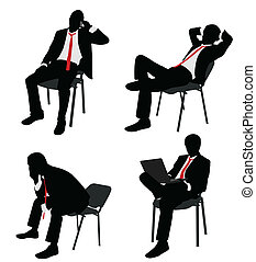 homme affaires, séance, sur, les, chaise