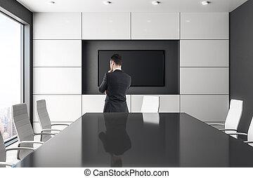 homme affaires, salle réunion