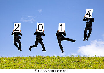 homme affaires, sauter, à, 2014, année, texte, herbe