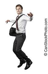 homme affaires, sauter, heureux