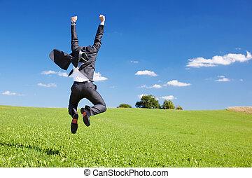 homme affaires, sauter, joie