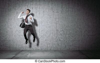 homme affaires, sauter, portrair