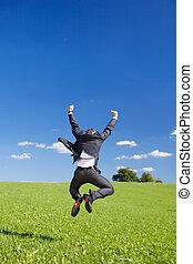 homme affaires, sauter, radieux, joie