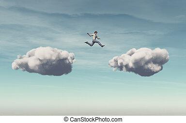 homme affaires, sauts, nuage