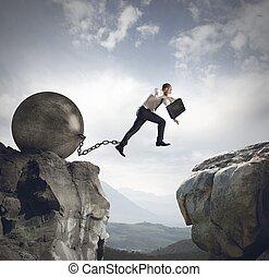 homme affaires, sauts, obstacle