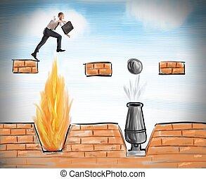 homme affaires, sauts, obstacles, surmonter