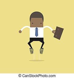 homme affaires, sauts, spring., haut, africaine
