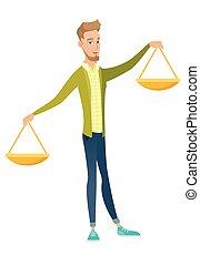 homme affaires, scale., équilibre, caucasien, tenue