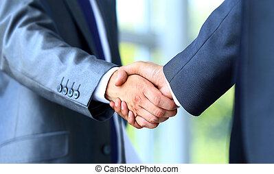 homme affaires, secousse, deux mains