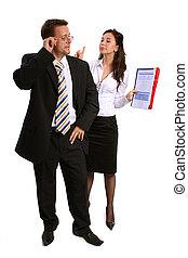 homme affaires, secrétaire, conversation