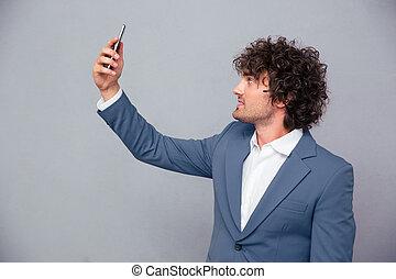 homme affaires, selfie, beau, confection, photo