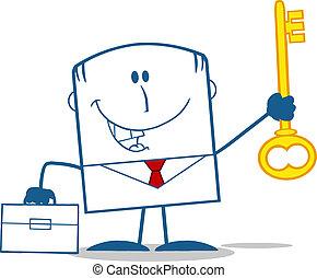 homme affaires, serviette, heureux