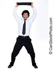 homme affaires, serviette, tenue, heureux