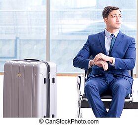 homme affaires, sien, attente, aéroport, cla, avion, ...