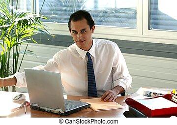 homme affaires, sien, bureau