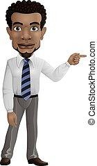 homme affaires, sien, doigt indique, africaine, droit