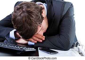 homme affaires, sien, dormir, bureau