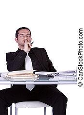 homme affaires, sien, fonctionnement, bureau