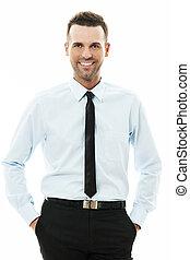 homme affaires, sien, heureux, poches, mains