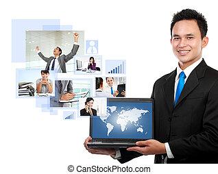 homme affaires, sien, réseau, équipe