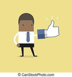 homme affaires, signe., africaine, haut, pouces