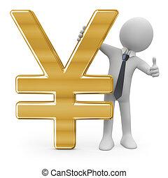 homme affaires, signe, penchant, yen