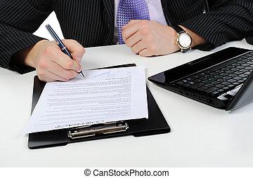 homme affaires, signes, a, contrat