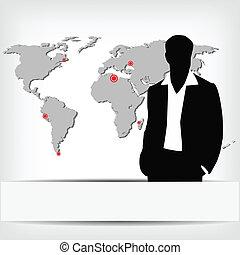 homme affaires, silhouette, planisphère