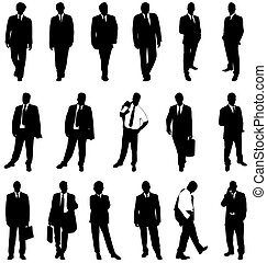homme affaires, silhouettes